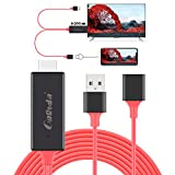 HDMI Cables Adapter USB to HDTV Cable, Tsemy Wire Dongle USB Male + USB Female to HDMI Male 1080P HDTV Mirroring Cable for for iPhone/iPad/S9/S8/Note 8 and More Steaming Sharing (Red)