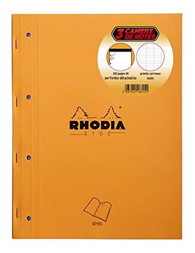 RHODIA 118315C - Lot de 3 Bloc-Notes Agrafés Coté Side Orange - A4 - Grands Carreaux Seyès - 80 Feuilles Détachables Perforation 4 Trous, Papier Clairefontaine Blanc 80 g/m²