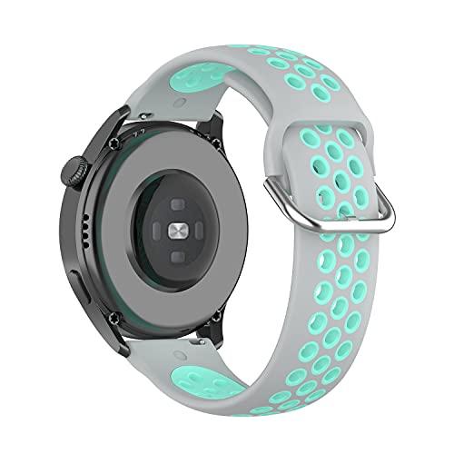22mm Correa para Huawei Watch3/Huawei Watch 3 Pro,Bandas Correa Repuesto,Silicona Reloj Recambio Brazalete Correa Repuesto para Huawei Watch GT2 Pro/Watch GT 42mm/46mm/Garmin Venu 2 (Verde gris)