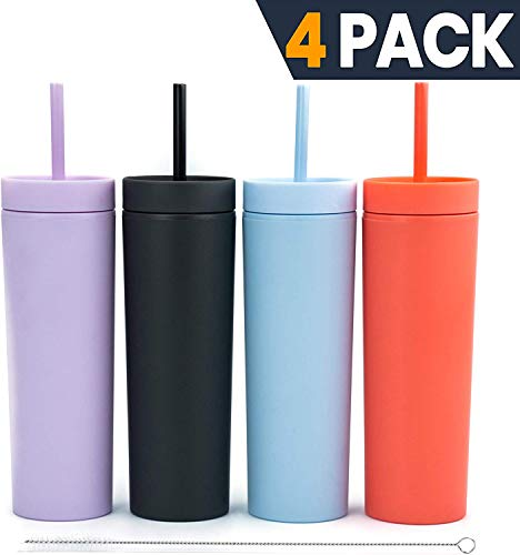 SKINNY TUMBLERS (4 pack) Matte Colored Acrylic Tumblers with Lids and Straws   Skinny, 16oz Double Wall Plastic Tumblers With Straw Cleaner INCLUDED! Reusable Cup With Straw   Vinyl DIY Gifts
