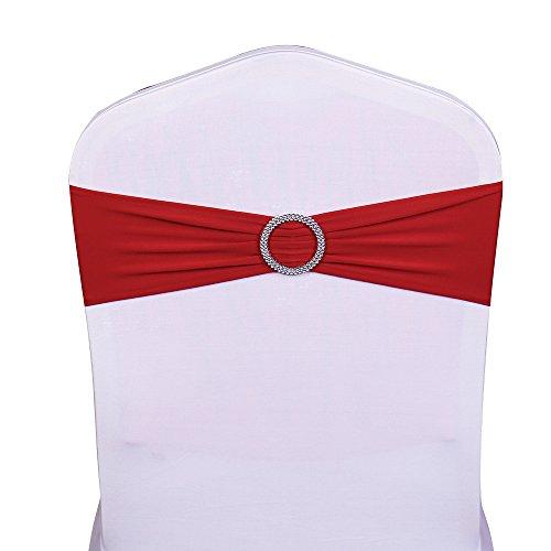 SINSSOWL - 100 fundas elásticas para sillas, bandas de lazos para decoración de fiesta de boda de proveedores y sillas de lazo, color rojo
