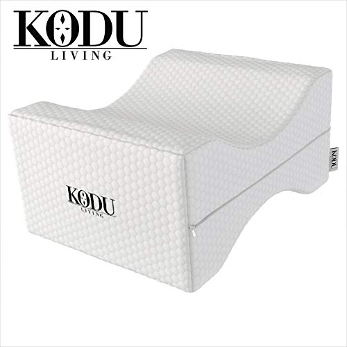 Kodu Living Orthopedic Memory Foam Knee Pillow for Sciatica Relief, Back Pain, Leg Pain, Pregnancy, Hip and Joint Pain - Wedge Contour Leg Pillow for Side Sleepers