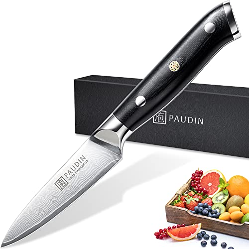 Paudin damascus Paring Knife 3.5 Inch, Stainless Steel fruit knife, Peeling Knife with Triple Rivet Micarta Handle, Forged Blade and Sharp Edge,Japanese VG-10 Steel Kitchen Knife