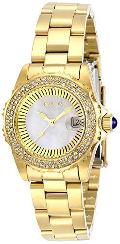 Invicta Angel 28444 - Reloj de cuarzo para mujer con correa de acero inoxidable, color dorado