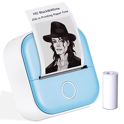 Mini Thermal Photo Printer - Portable Smart Photo Printer for iPhone - T02 Wireless Bluetooth Portable Printer,Compatible with iOS & Android,Mobile Pocket Sticker Printer for Journal,Notes,Memo