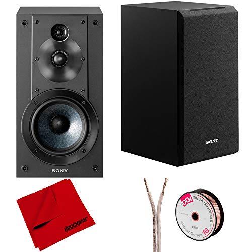 Sony SS-CS5 3-Way 3-Driver Stereo Bookshelf Speakers w/Deco Gear Accessories Bundle