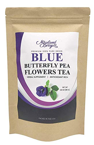 MiralandBerry Dried Butterfly Pea Flowers, (2.8Oz), Premium Quality Thai Herbal Tea, Antioxidants Rich, Ideal for Tea Desserts Beverage