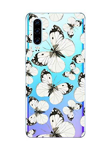 Oihxse Funda Conpatible con Huawei Mate 20 Silicona Transparente Dibujos Mariposa Cover Suave TPU Gel Cristal Clear Delgada Anti- Arañazos Protección Carcasa Case,Negro