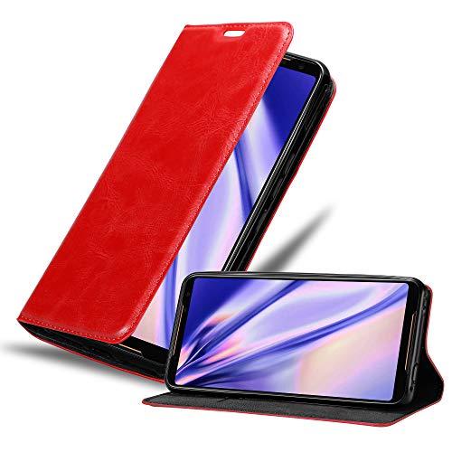 Cadorabo Hülle für Asus ROG Phone 2 in Apfel ROT - Handyhülle mit Magnetverschluss, Standfunktion & Kartenfach - Hülle Cover Schutzhülle Etui Tasche Book Klapp Style