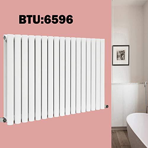 600 x 1003mm Ovaal Paneel Verwarmde Radiator Wit Dubbele Kolom Centrale Verwarming Modern Ontwerp voor Woonkamer Slaapkamer Badkamer Opwarming BTU 6596