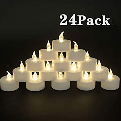 JUNPEI Pack of 24 Flameless Tea Light Candles Realistic Flickering:Battery Long Lasting Warm White Light Lamp Operated Powered for Seasonal & Festival Celebrations