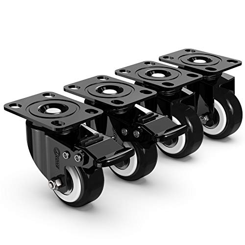Swivel Plate Caster Set of 4, BHONY 2'' Industrial Heavy-Duty Wheels, Furniture Casters with Safety Dual Locking, Bearing 600lbs Load Capacity