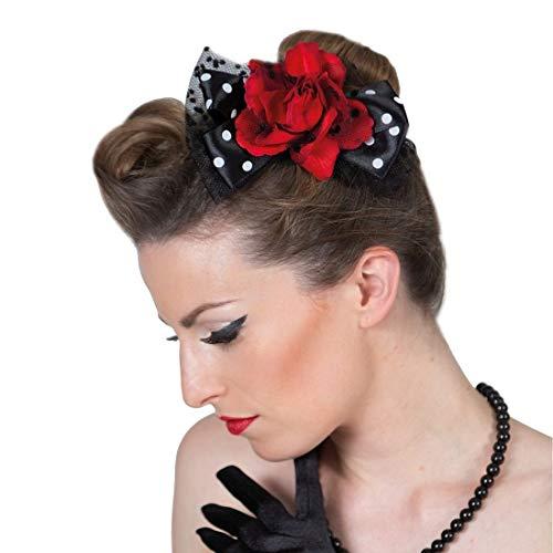 NET TOYS Wunderschöne 50er Jahre Haarspange mit Schleifen - Bezaubernder Damen-Kopfschmuck Rockabilly Haarklammer - Wie geschaffen für Fasching & Themenabend