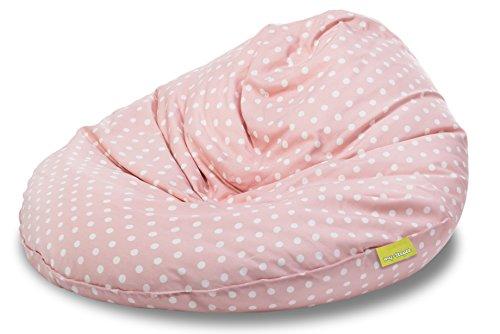 my-teepee MT05ro Sitzsack für Kinder, Durchmesser 70 cm, Volumen 100 Liter, Made in Germany, schadstofffrei, mit separatem Innensack und hochwertiger EPS-Kugelfüllung, rosa mit weißen Punkten