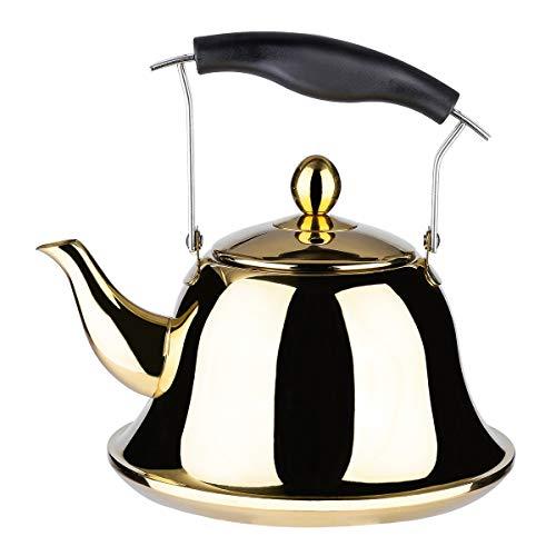 AMOMGard Pfeifkessel für Induktion Gas, Edelstahl Tee Kessel Teekanne Pfeifton mit abnehmbare Siebeinsatz Teesiebe für Tee Kaffee Schnelles Kochen, 2 L Golden