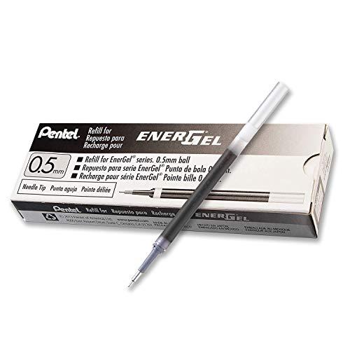 Pentel Energel - Lote de 12 cartuchos de tinta de recambio para bolígrafos Pentel Energel BLN75, BLN105 y BL625 (punta aguja 0.5 mm), color negro