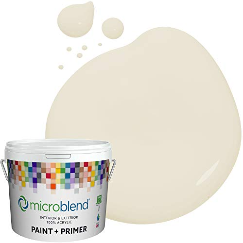 Microblend Interior Paint and Primer - Almost White/Ivory Pillar, Eggshell Sheen, Quart, Premium Quality, One Coat Hide, Low VOC, Washable, Microblend Browns Family Indiana