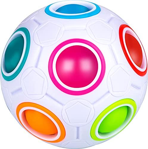 Mamowla Magic Rainbow Ball Palla Magica Puzzle 3D Intelligenza Sfera di Calcio Stile Arcobaleno Cubo Speed Cube Fidget Giocattolo Giocattolo Educativo per Bambini