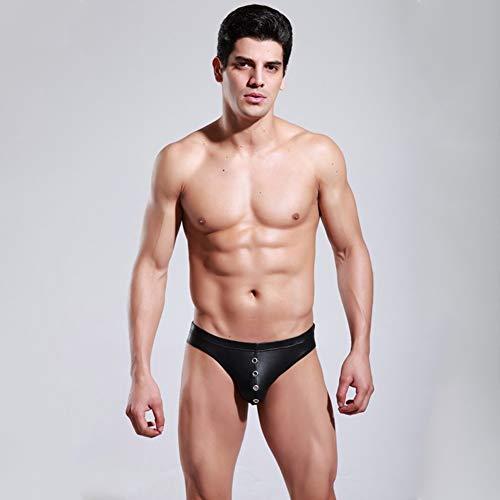Sexy Heren Lage Taille Kunstleer Heren Knoop Slips Shorts Zacht Kunstleer Ardennen Zakje Goed Rekbaar Ondergoed Onderbroek,Black,S