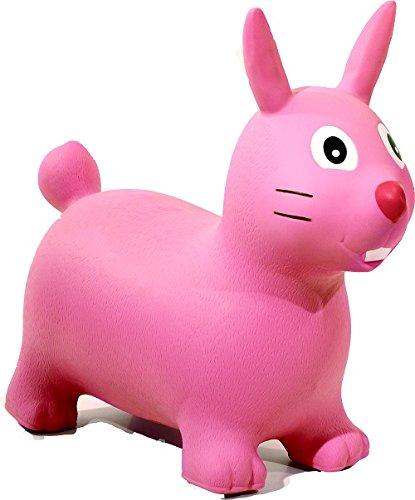 HAPPY GIAMPY HG506 - Coniglio Gonfiabile Cavalcabile per Bambini, Colore Rosa