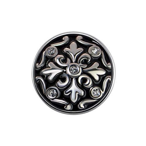 Quiges Damen Click Button 18mm Chunk Schwarze Ornament Kristall Zirkonia für Druckknopf Zubehör