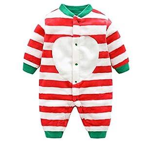 DEBAIJIA Bebé Mameluco 0-2T Infantil Peleles Recién Nacido Monos Niños Camisones Niña Pijama Niño Ropa de Dormir Unisexo Franela (Rojo-59)