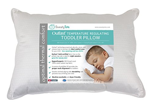 Toddler Pillow for Hot or Sweaty Sleepers - 13 x 18, White, 300TC Cotton Sateen, Features Outlast(R)...