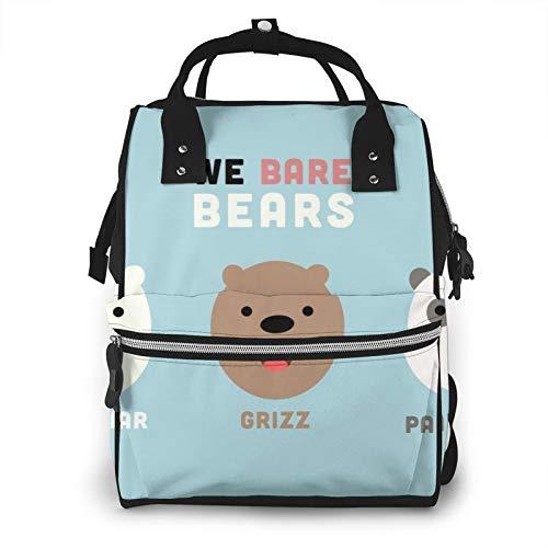 Bonita mochila de pañales de Ba-re Bears de gran capacidad, bolsa de bebé, multifuncional, con cremallera, mochila de viaje informal para mamá y papá, unisex