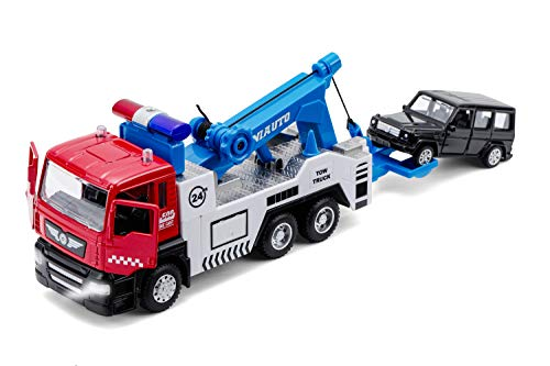 Toy Tow Truck Pull Back Toy Cars Miniature Carrier Truck Toy for Boys and Girls, Lights and Sound (Tow Trucks)