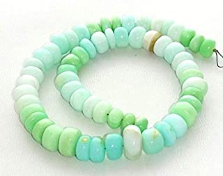 Beads Gemstone Peruvian Opal Smooth Beads,Sky Blue and Green Peru Opal Smooth rondelles,Very Nice Quality, 6 mm - 11 mm Approx,12 Inch Long Strand[E1488] Code-HIGH-33042