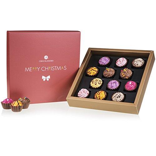 Christmas Square Maxi - 12 Cupcake-Pralinen zu Weihnachten | edler Verpackung | Weihnachtspralinen | Weihnachtsschokolade | Süßigkeiten | Schokolade | Erwachsene | Mann | Frau | Männer | Frauen