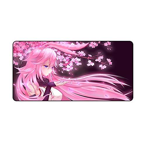 Yanqhua Alfombra de Escritorio Gran Anime Pink Mousepad Gamer Lindo Kawaii XL Gaming Mouse Pad Rubber Otaku Bloqueo Borde Big Moda Portátil Portátil Mat (Color : Sky Blue, Size : 600x300x1.5mm)