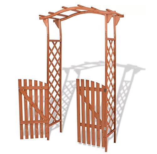Pérgola de jardín con puerta, arco de jardín 2 en 1 de madera maciza para jardín, patio, entrada, camino