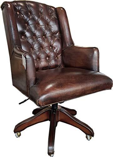 Casa Padrino Echtleder Chefsessel Büro Stuhl Dunkelbraun Drehstuhl Schreibtisch Stuhl - Chefbüro