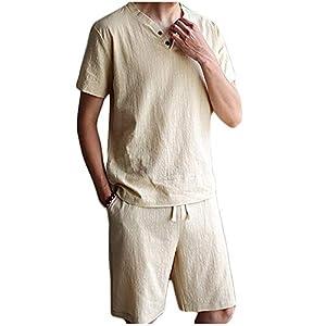 CoCorea ジャージ スウェット メンズ 半袖 ショートパンツ 無地 吸汗速乾 カジュアル 夏 春 秋 khaki 3XL