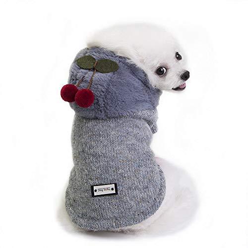 TLLW Ropa de perro para mascotas ropa de perro ropa de perro de Navidad abrigo de perro otoño e invierno ropa de gato pequeño suéter de cereza disfraces para perros perros perros