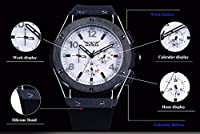 QTMIAO美しい機械式時計 メンズ6針自動機械式時計ブラックシェルホワイト表面テープ機械式時計 (Color : 1)