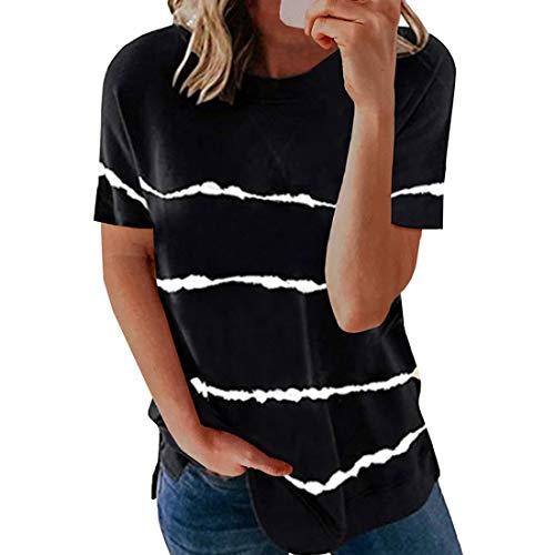 Camisetas para Mujer Camisa a Rayas Tops a Rayas Cuello Redondo Manga Corta Cuello Redondo Tops de Bloque de Color Camisetas holgadas a Rayas Blusas Tops Mujer Sexy Casual Primavera Suéter asimétrico