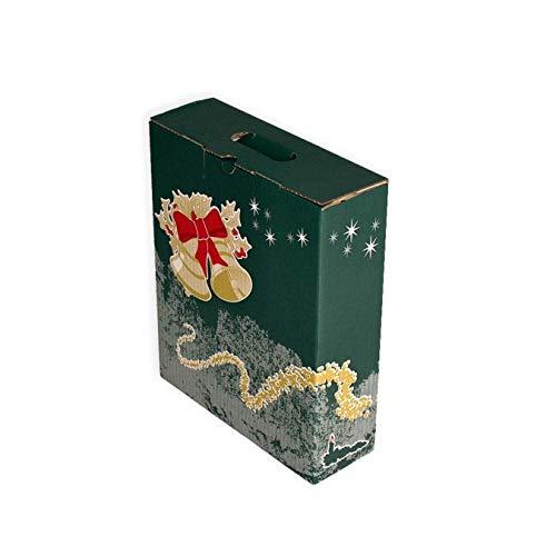 Pack 20 Cajas para lote navideño. Capacidad 3 botellas +Lote. Caja de Canal Doble con asa.Medidas 285 X 095 X 350 mm