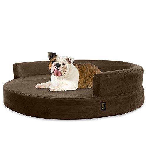 KOPEKS Deluxe Orthopedisch Memory Foam Ronde Bank Lounge Hond Bed - Groot - Bruin
