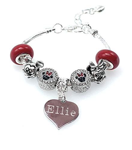 Jewellery Hut Personalised and Engraved Mickey and Minnie Mouse Bracelet with Gift Box for Children and Adults