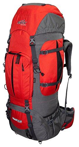 Tashev Outdoors Mount Trekkingrucksack Wanderrucksack Damen Herren Backpacker Rucksack groß 100l Plus 20l mit Regenschutz Rot & Grau (Hergestellt in EU)