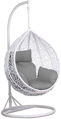 Raxter - Sedia a dondolo con supporto per giardino, camera da letto, arredamento da interni ed esterni (bianco)