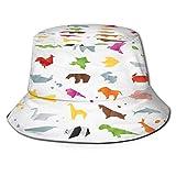 Sombrero de Pesca,Conjunto Animales Color Origami Serpiente Elefante,Senderismo para Hombres y Mujeres al Aire Libre Sombrero de Cubo Sombrero para el Sol