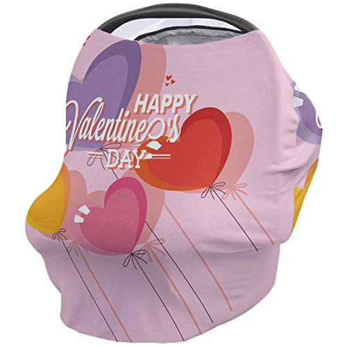Best Price Happy Valentine's Day Nursing Cover for Baby Breastfeeding, Soft Breathable Stretchy Cars...