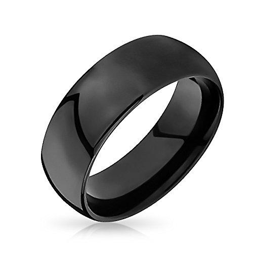 Bling Jewelry Einfache Dome Schwarz Paare Ehering Tungsten Ringe Für Herren Für Damen Comfort Fit 8MM