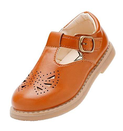 DADAWEN Girls' T-bar Mary Jane Flats Dress Oxford Shoes Brown 6.5 UK Chil