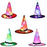 ZQTRT LED-Hexenhut, Halloween-Dekorationen, 5 Stück, zum Aufhängen, beleuchtet, leuchtende Hexenhut, Dekorationen für Halloween, Dekoration für draußen, Hof, Baum