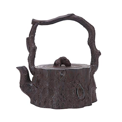 MNSSRN Root-Shaped Teapot, Handmade Cast Iron Pot, Japanese Style Tea Set, Retro Craftsmanship, Multifunctional Hip Flask