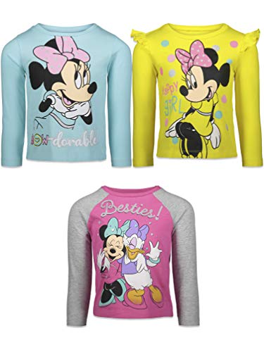 Disney Minnie Mouse Baby Girls 3 Pack Long Sleeve Graphic T-Shirt Pink 18 Months